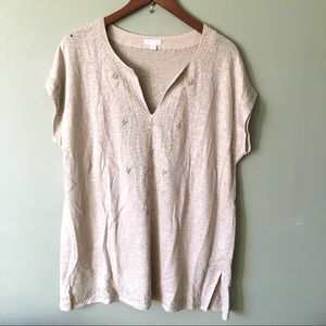 J. Jill Love Linen Embellished Oatmeal Tunic Top